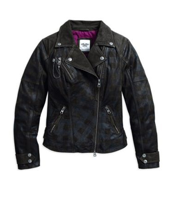 HD LEATHER JKT PLAID
