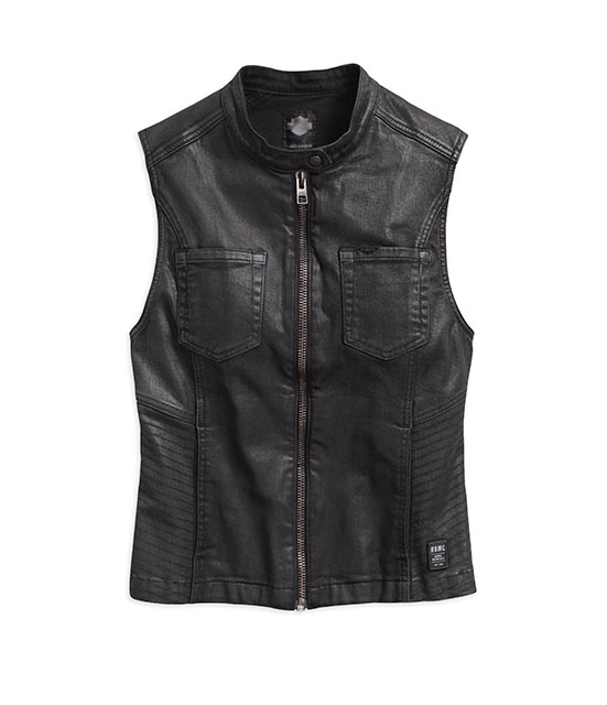 HD COATED DENIM BIKER VEST